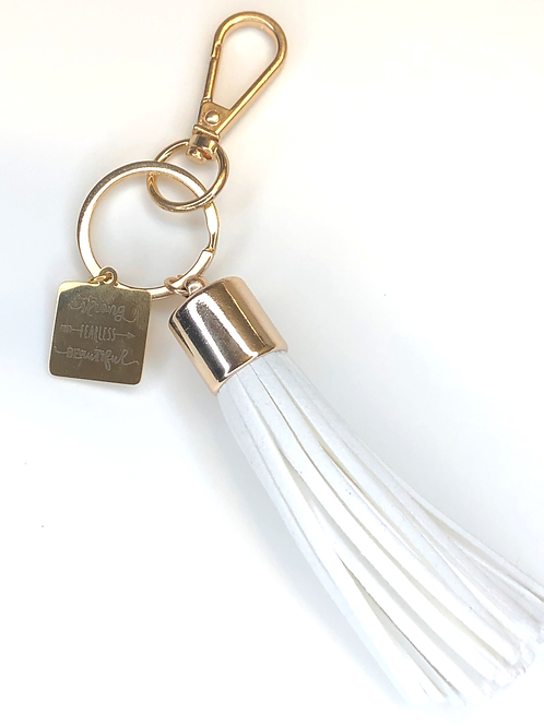 STRONG. FEARLESS. BEAUTIFUL KEYCHAIN- white