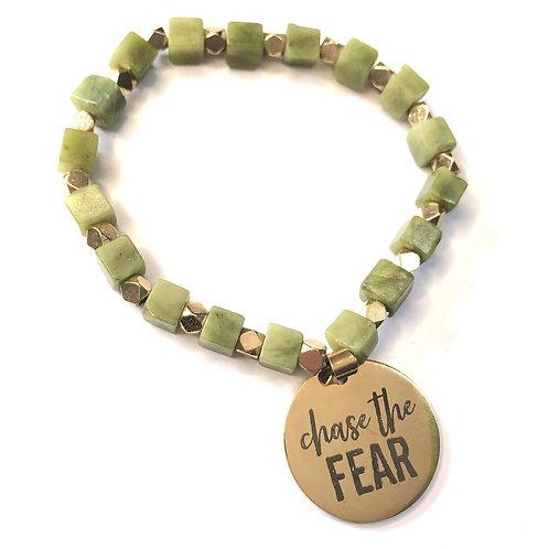 Gemstone Cube Bracelet-Olive Agate