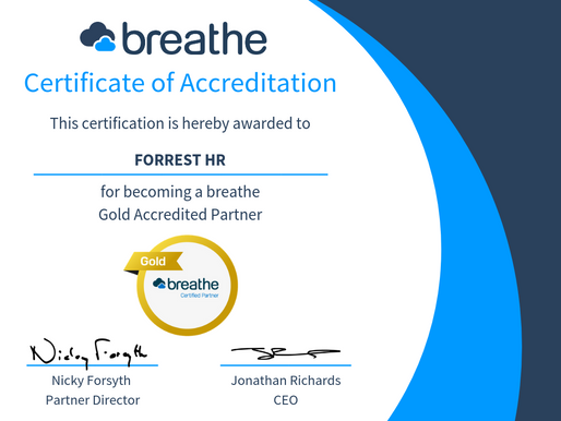 ForrestHR have reached Gold Partner status with Breathe!
