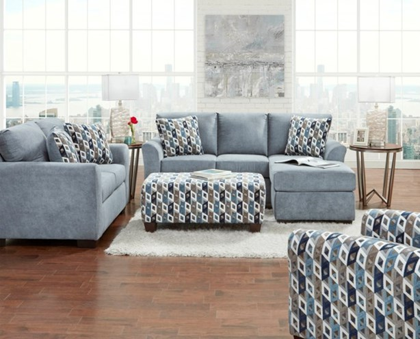 anna blue chaise sectional with matching chair
