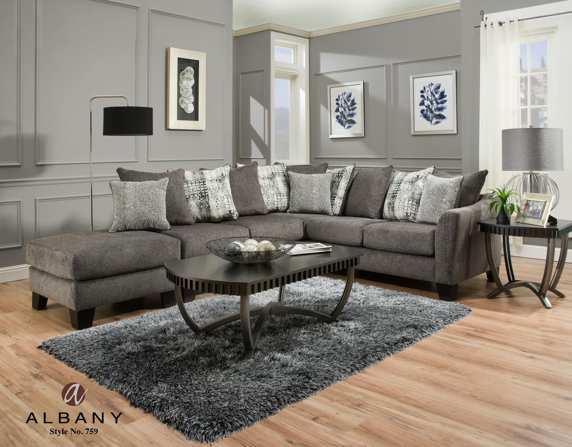 tremont slate sectional with extra ottoman end piece