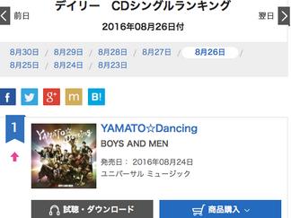 2回目!オリコンデイリー1位獲得!BOYS AND MEN「YAMATO☆Dancing」
