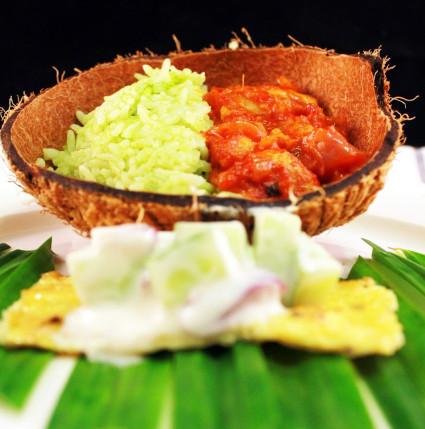 Nasi Lemak Pandan (Screwpine Coconut Rice) with Chicken Sambal