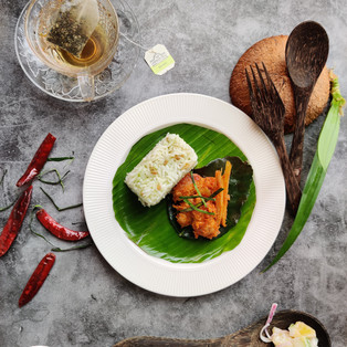 Vegetarian Mock Chicken Lemongrass Sambal with Pandan Aromatic Rice