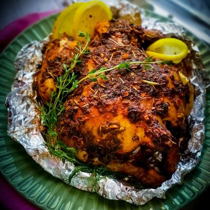Roasted Chicken with Garlic Saffron Rice and Mango Salsa