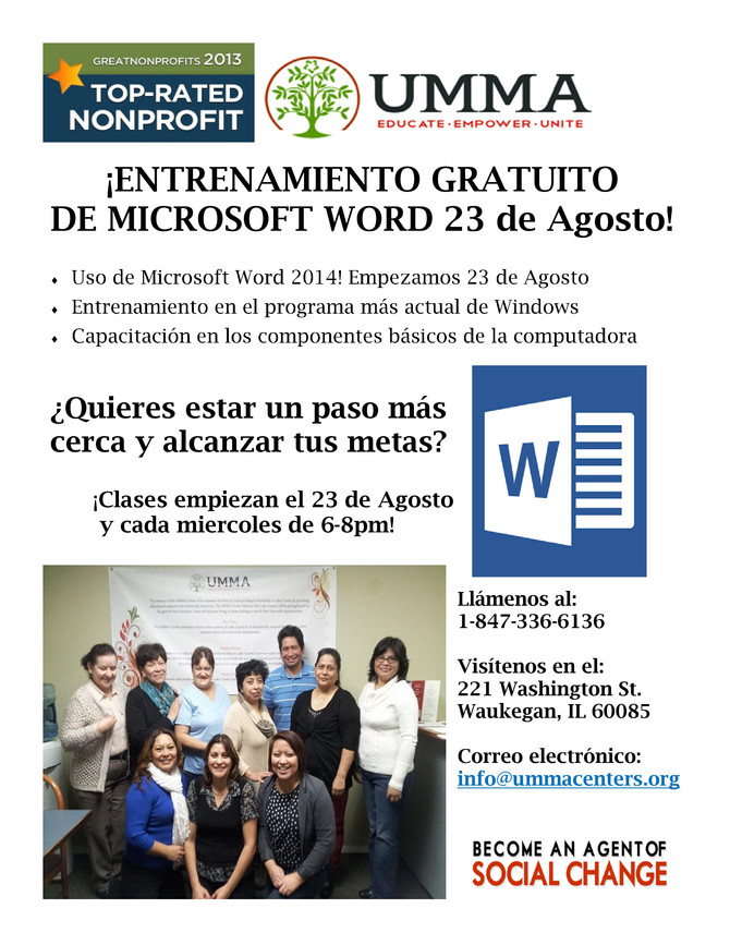 Microsoft Word 2014 Class in Spanish Every Wednesday 6 to 8pm Starting August 23rd
