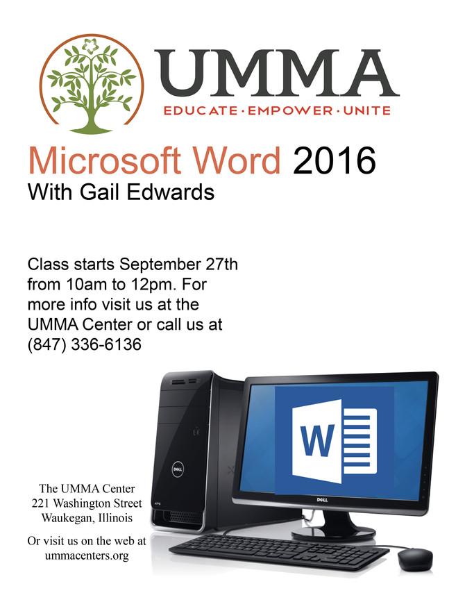 Microsoft Office 2016 Class Wednesday, September 27th
