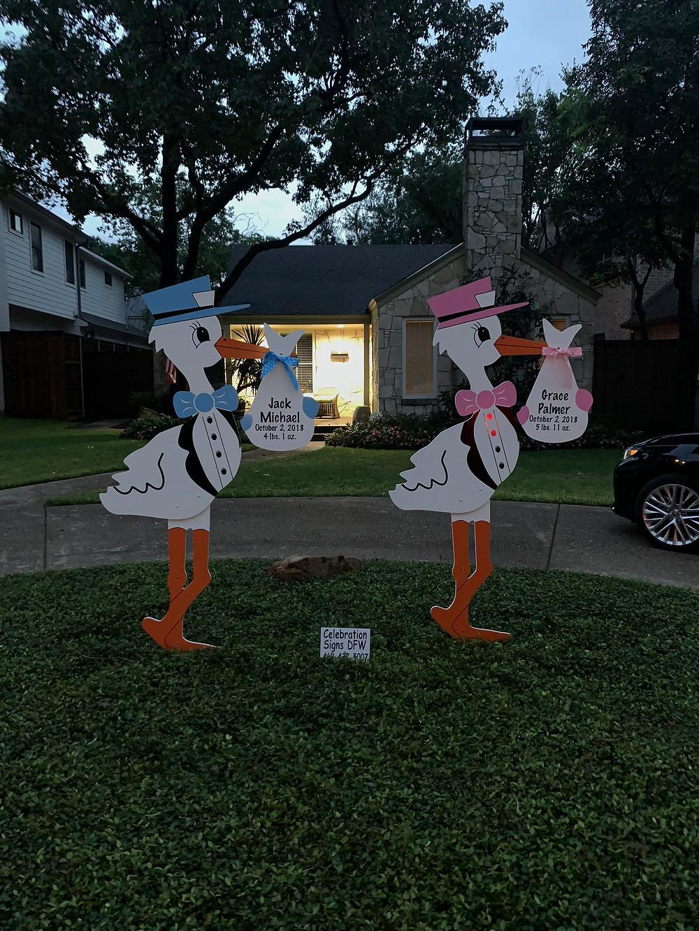 twin stork birth announcement