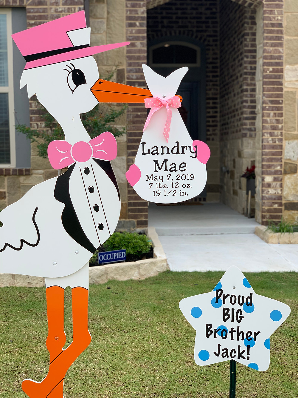 baby girl stork and sibling brother sign