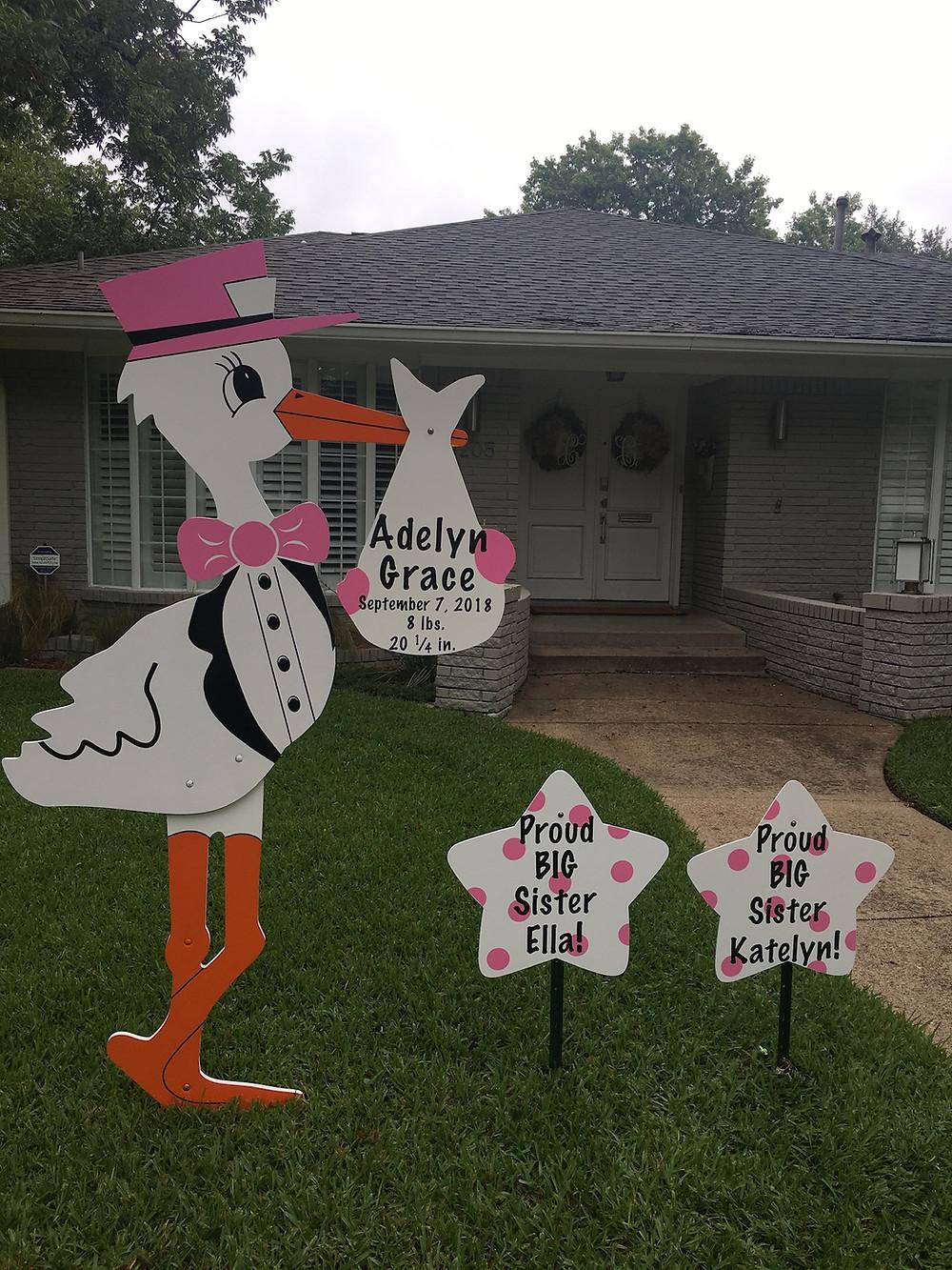 baby girl stork sign