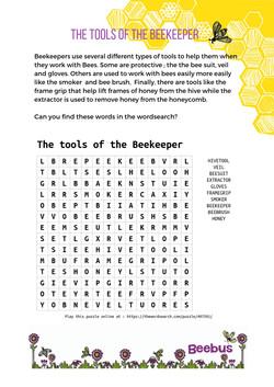 Beekeepers tools wordsearch
