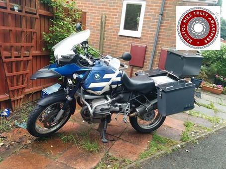 STOLEN - BMW R1150GS - KE04 HFV - CRIME REF:5219130512