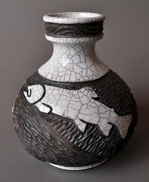 Raku Fish Bottle Vase (No.31/2020)