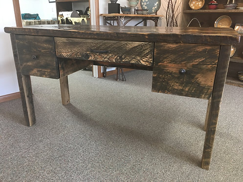 Fir & Barnwood Three Drawer Desk