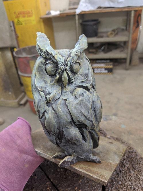 Observant, bronze owl