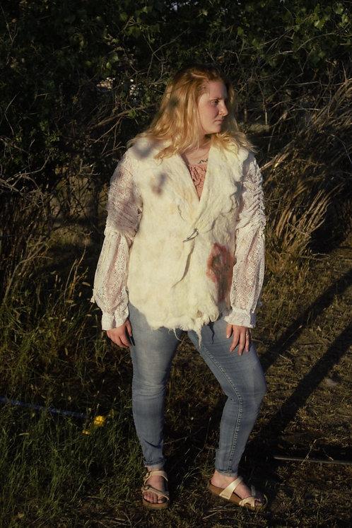Lace sleeve felted alpaca fiber jacket