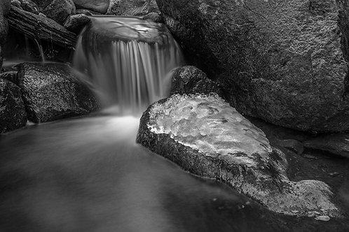 Sweeney Creek Water Flows 531, black & white