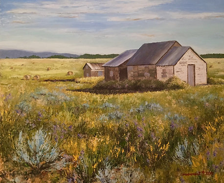 Asher's Store, Mckean Road, Crook County, WY, oil on gessobord