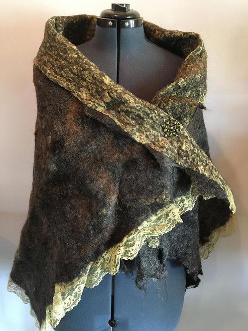 Shawl, antique lace with alpaca fiber