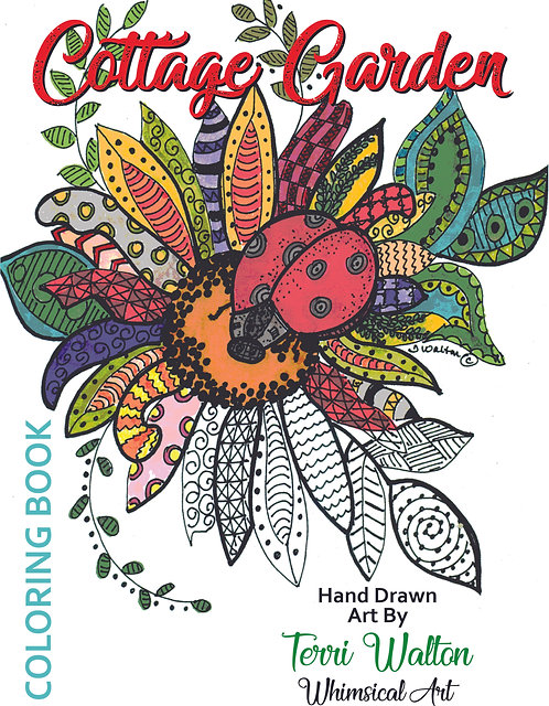 Cottage Garden, hand-drawn coloring book