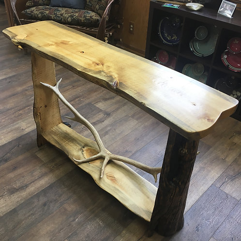 Sofa Table- Blue Pine with Elk Rack