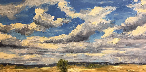 My Wyoming Sky, oil & cold wax, choose one side ($95 each) or both