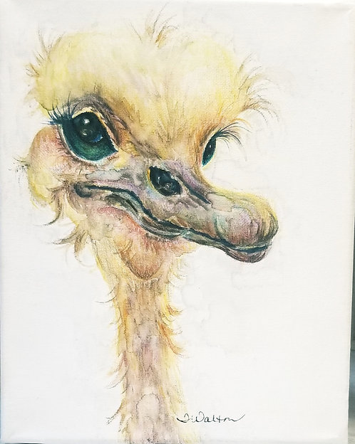 Ezrick the Ostrich, watercolor painting