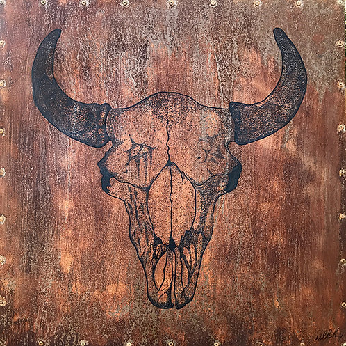 Buffalo Skull - acrylic on metal
