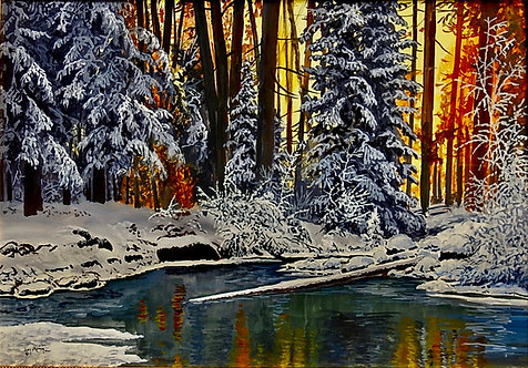 First Snow Sunset, gouache watercolor
