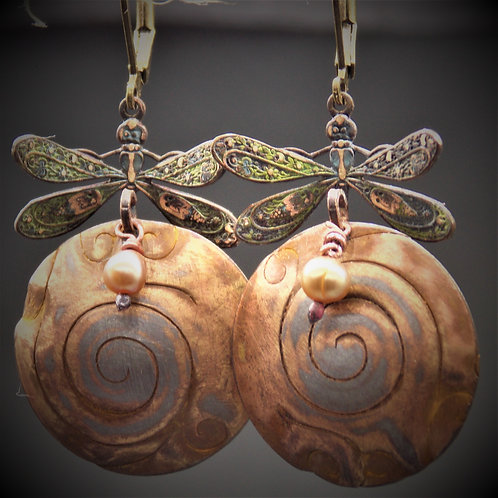 Spiral Dance of the Dragonfly earrings