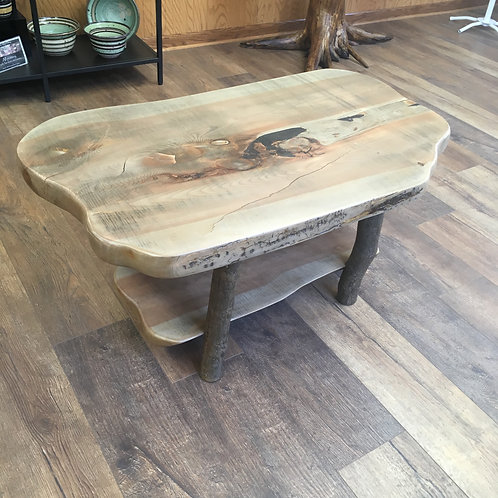 Coffee Table- Blue Pine with Log Legs
