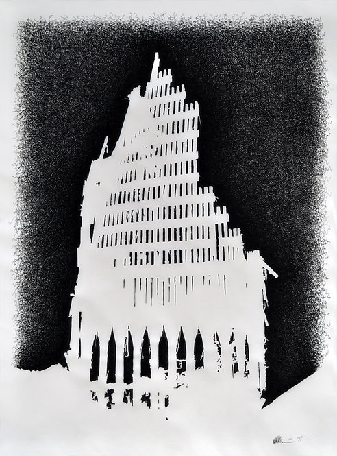 Cathedral (Silhouette Series), ink on vellum