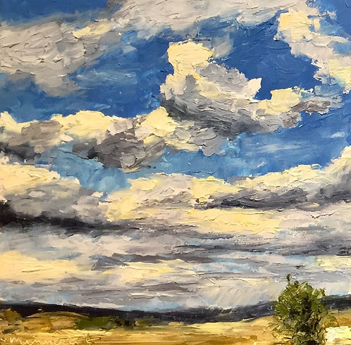 My Wyoming Sky 1, oil & cold wax