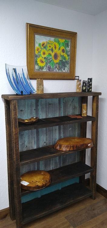 Large Barnwood & Blue Tin Shelf Unit