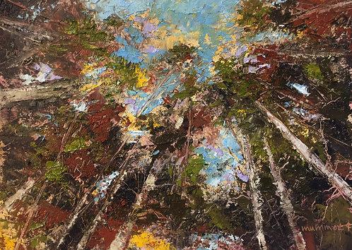 Autumn Canopy, oil & cold wax