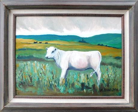 Li'l Heifer, framed oil on canvas panel