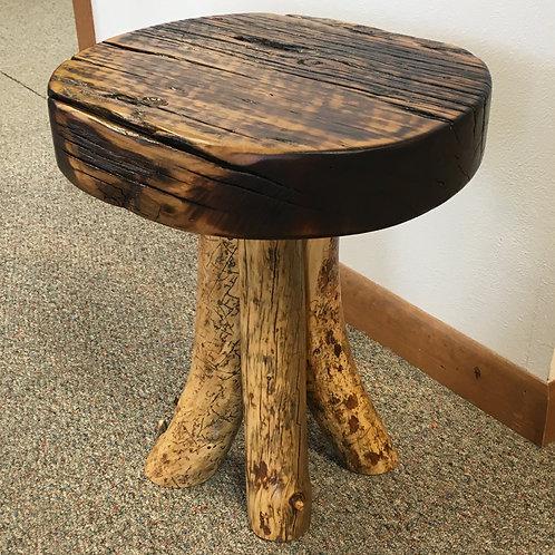 Barnwood & Log Leg Mushroom Stool