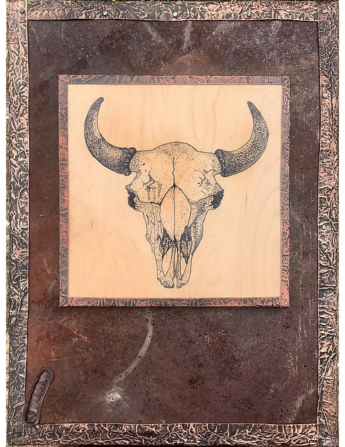 Buffalo Skull on Rusted Metal