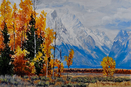 Fall in the Tetons, gouache watercolor
