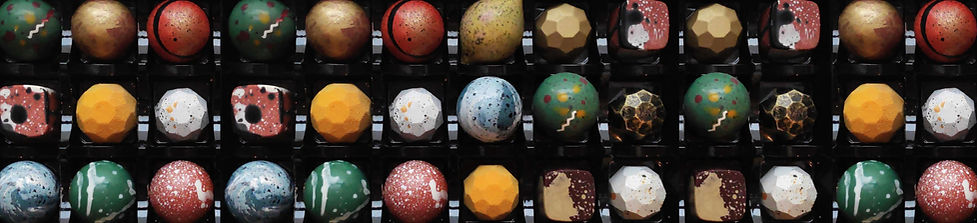 Colourful moulded chocolates  in  gift box