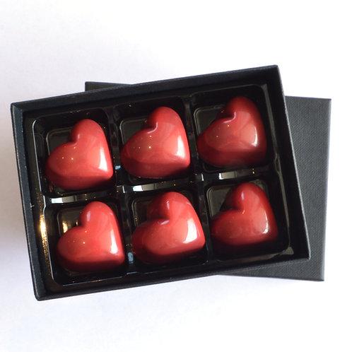 Sea salt caramel in dark choclate herats by Anastassia Chocolates