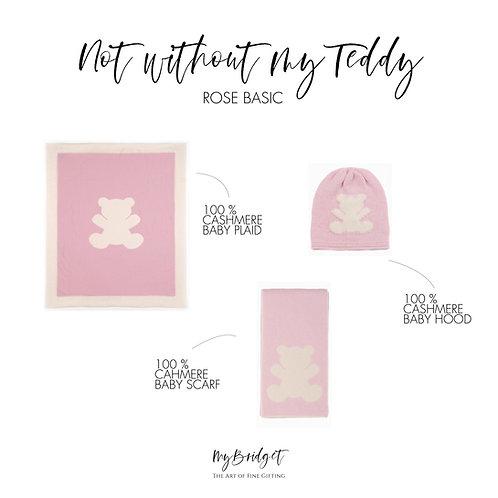 MyBridget Nobles Geschenkset zu Geburt, Taufe, Weihnachten mit Kaschmirdecke, Kaschmirschal und Kaschmirhaube in rosa aus