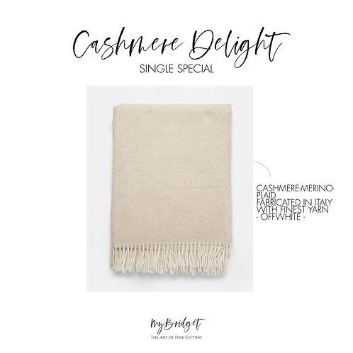MyBridget Elegante Kaschmirdecke Cashmere Plaid mit Merino als luxuriöses Geschenk in Beige