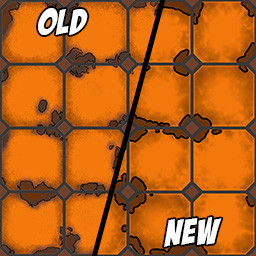An image displaying the differences between hand painted versus node designed floor textures