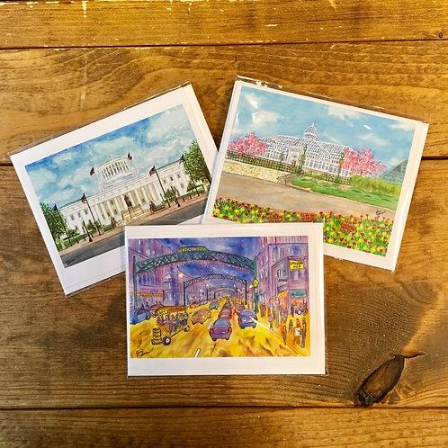Columbus Watercolor Greeting Cards