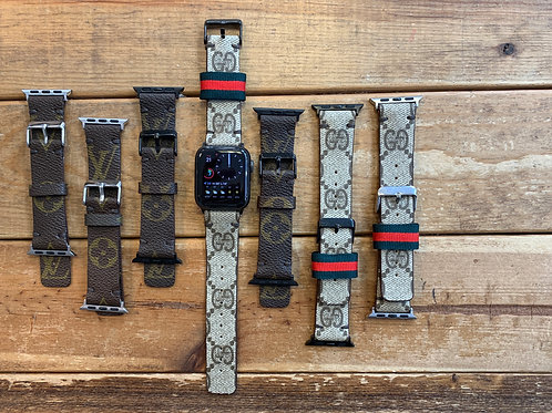 Upcycled Louis Vuitton and Gucci Apple Watch Bands