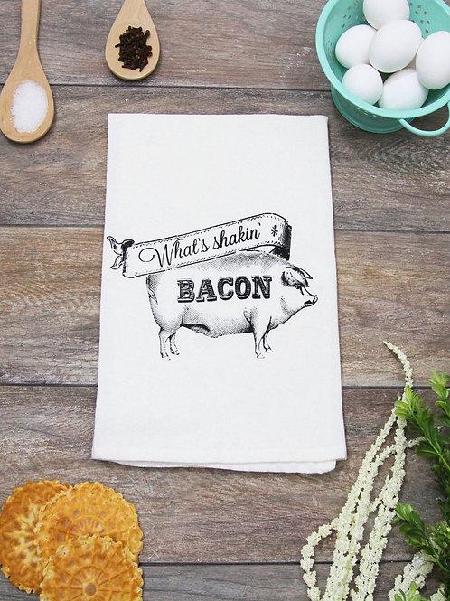 What's Shakin Bacon Tea Towel