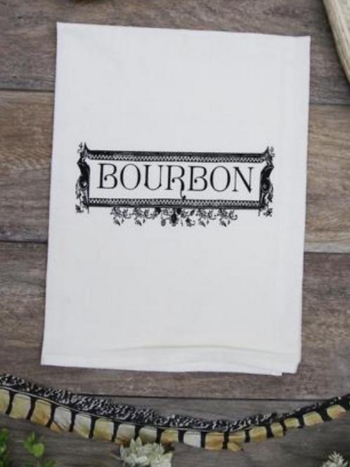 Bourbon Label Tea Towel