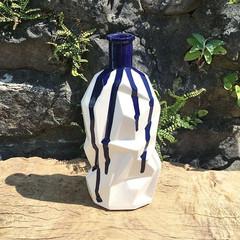 Angular bottle vase with cobalt blue addition