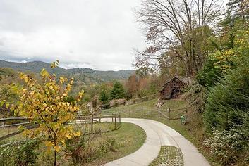 Farm with blue ridge mountains backdrop